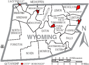 Map of Wyoming County Pennsylvania With Municipal and Township Labels