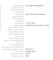 Winblad Oknaberg 1824 marriage