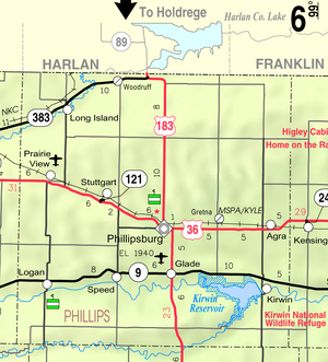 Map of Phillips Co, Ks, USA