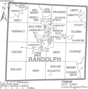 Map of Randolph County North Carolina With Municipal and Township Labels