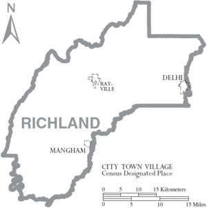 Map of Richland Parish Louisiana With Municipal Labels