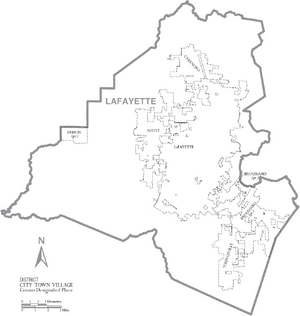 Map of Lafayette Parish Louisiana With Municipal Labels