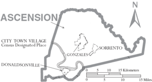 Map of Ascension Parish Louisiana With Municipal Labels