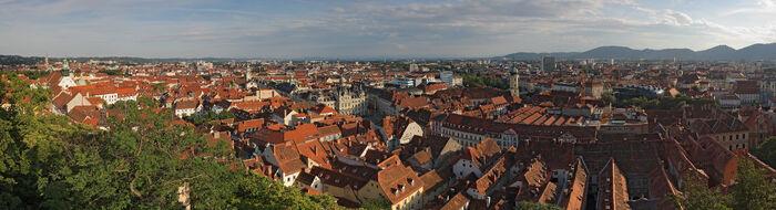 Graz Austria pano from Schlossberg