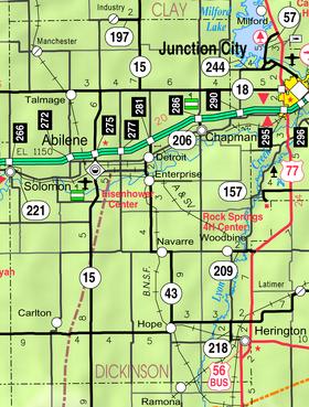 Map of Dickinson Co, Ks, USA