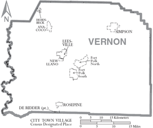 Map of Vernon Parish Louisiana With Municipal Labels