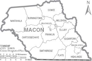 Map of Macon County North Carolina With Municipal and Township Labels