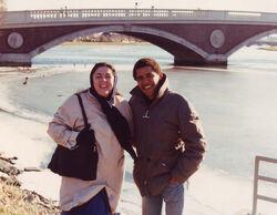 Barack Obama junior with Ann Dunham in Cambridge