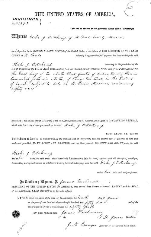Hicke Osterkamp's 1857 land purchase