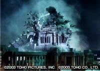 Kiryu Tackles Godzilla Into the Diet Building