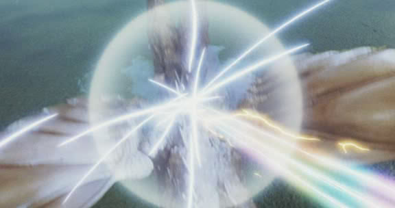 File:Grand King Ghidorah's force barrier repelling Mothra's Multicolored Cross Heat Rainbow Laser Beams.jpg