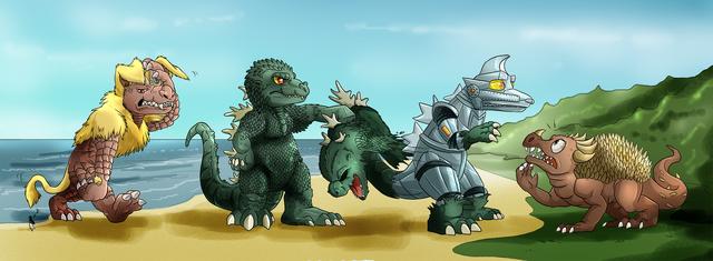 File:Godzilla vs Mecha Godzilla funny drawing.png