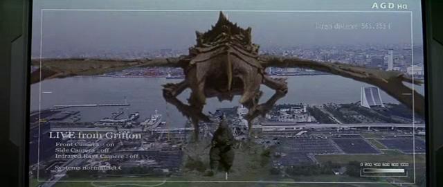 File:Godzilla vs. Megaguirus - Griffon looks at Megaguirus.png