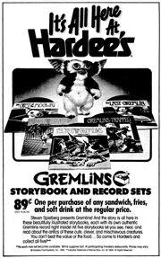 Hardees Ad Gremlins Storybook and Record Sets