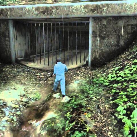 The storm drain near the tunnel.
