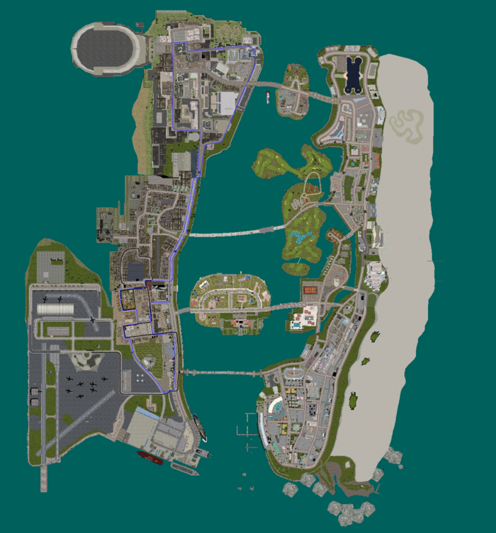 GTAVC Whippet Express Coach and Bullet Bus & Coach Line Route Map