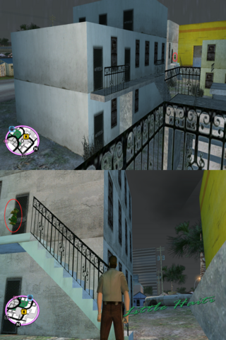 File:GTAVC HiddenPack 67 Upstairs landing of first townhouse E of Kaufman Cabs.png