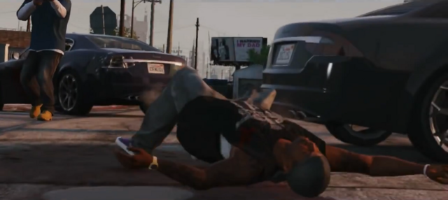 File:Franklin Killing a Ballas Member-GTAV.png