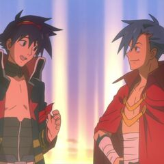 Kamina, standing with his blood-brother Simon for the last time