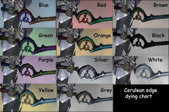 Cerulean Edge dye chart