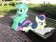 118930 UNOPT safe bonbon ponies-in-real-life newspaper lyra-heartstrings bench sitting-lyra artist-serindo