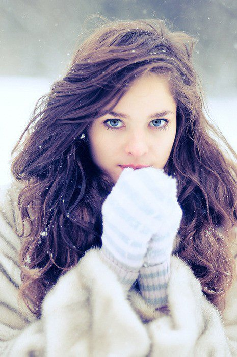 Simply matchless girl with brown hair and blue eyes