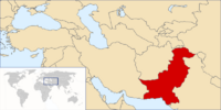 Location of Pakistan in the Middle East and Earth