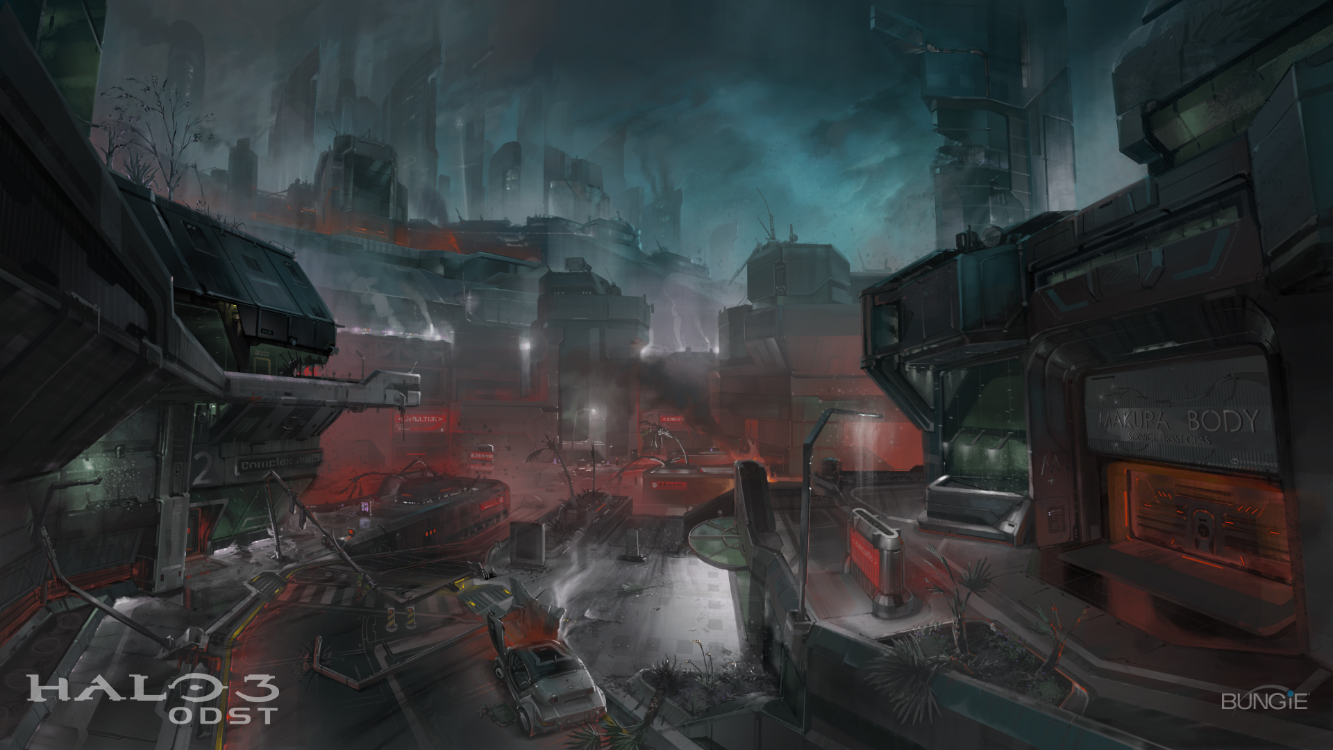 Image halo 3 odst concept art destroyed city at night jpg halo nation fandom powered by wikia