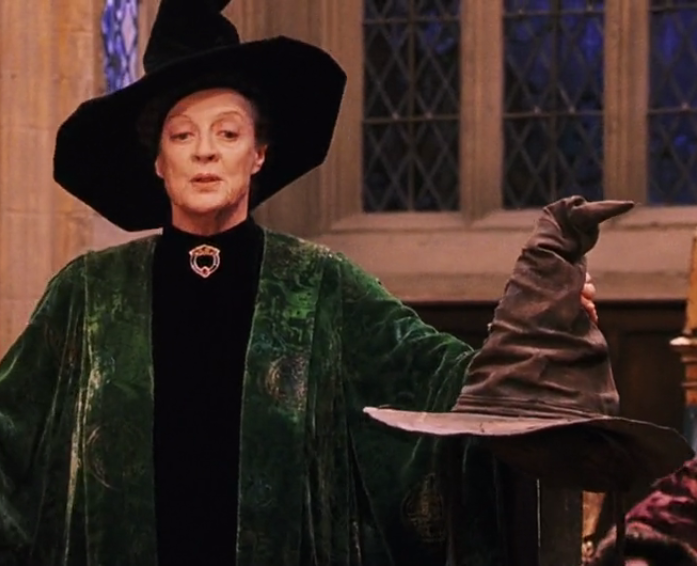 Image mcgonagall and the sorting hat ss png harry potter wiki