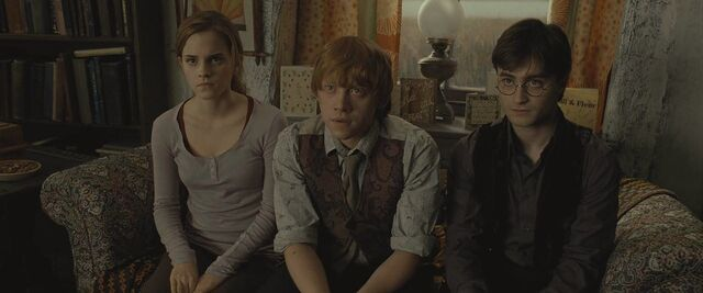 File:Harry, Ron and Hermione during the reading of Dumbledore's will.jpg