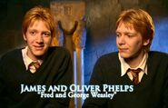 James and Oliver Phelps (Fred and George Weasley) HP5 screenshot