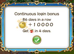 Login bonus day 86