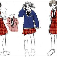 Drafts of the girls' summer uniform and another view of the winter uniform.