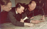 Adolf Hitler & Alfred Jodl analyzing a map
