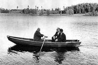 Nikita Khrushchev and Tage Erlander Sweden 1964 boat row