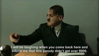 Hitler is informed this parody will get over 9000