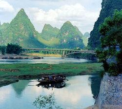 Houseboat in Yangso, China.