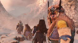 Tribe members traveling in the snow