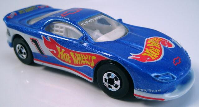 File:93 Camaro mf blue bw grey Mal base with 25th logo on rear quarter.JPG