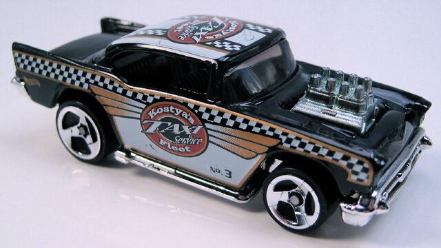 File:57 chevy black 3sp chrome MAL base Turbo Taxi Series, 2001.JPG