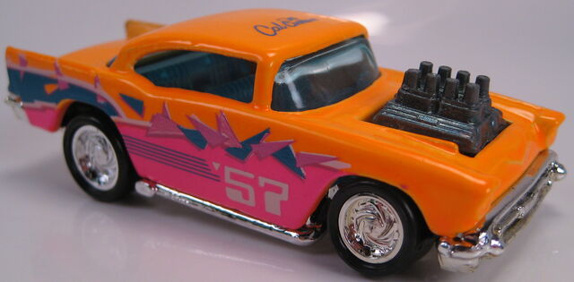 File:57 chevy neon orange turbo wheels cal custom 1990.JPG