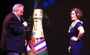 John Heald introduces actress Marcia Gay Harden on Carnival Dream