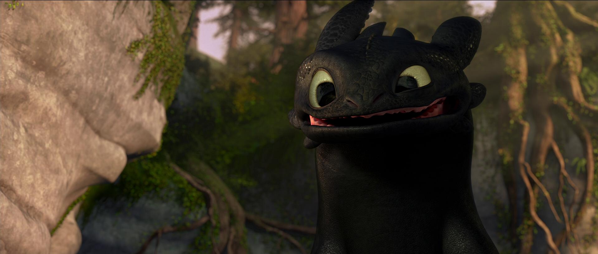 Toothless tries to smi...