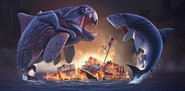 Hungry Shark Evolution Big Daddy and Megalodon fight