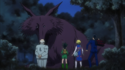 Gon, Kurapika, Leorio along with Zebro meets Mike