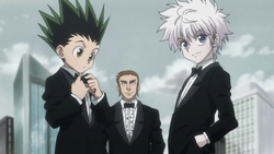 Gon, Zepile and Killua go to the auction