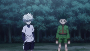 Gon and Killua before final fight with Knuckle and Shoot
