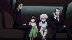 Amane and Gotoh escorting out Killua and Alluka