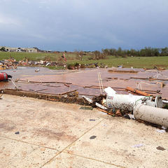 A house swept away by the 2013 Moore, OK tornado