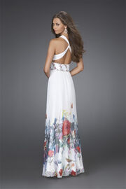 Attractive-Border-Print-Evening-Dress-white-back-view